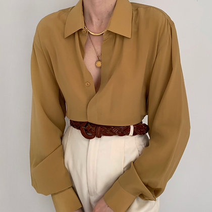 Vintage Dijon Silk Button Up Blouse