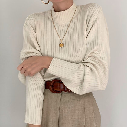 Vintage Cream Ribbed Knit Mock Neck Sweater
