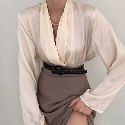 Vintage VS Ivory Silk Double-Breasted Blouse