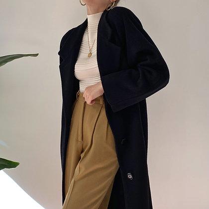 Vintage Black Wool Long Overcoat