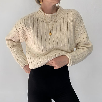 Vintage Vanilla Rolled Neck Knit Sweater
