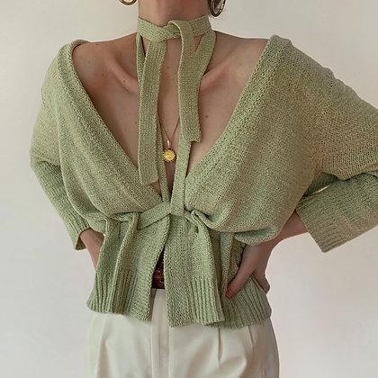 Vintage Spearmint Knit Wrap Top