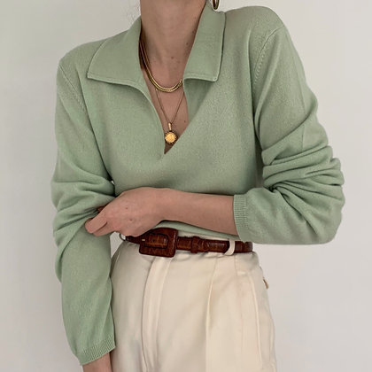 Deadstock Vintage Mint Cashmere Collared Knit