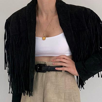 Vintage Black Suede Fringe Crop Jacket