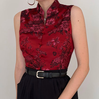 Vintage Crimson Floral Mandarin Top