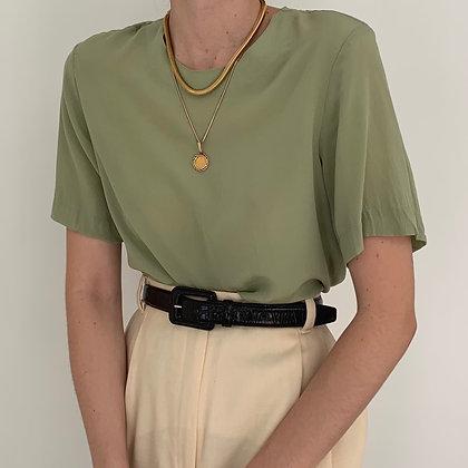 Vintage Pistachio Silk Boxy Shirt