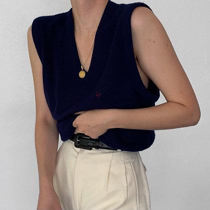 Vintage Christian Dior Midnight Knit V-Neck Vest