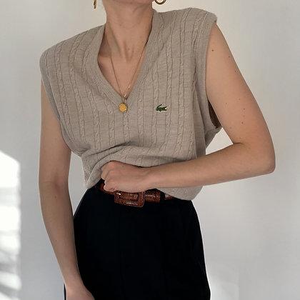 Vintage Lacoste Ecru Cable Knit Sweater Vest
