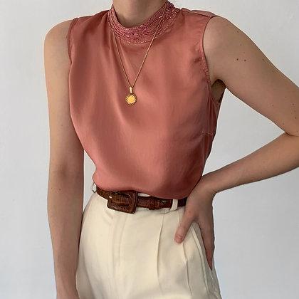Vintage Rose Silk Beaded Mock Neck Top