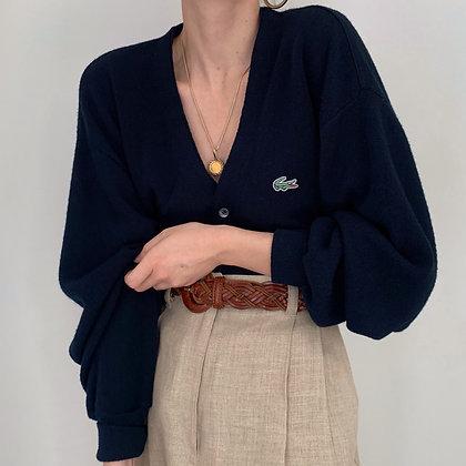 Vintage Lacoste Navy Knit Cardigan