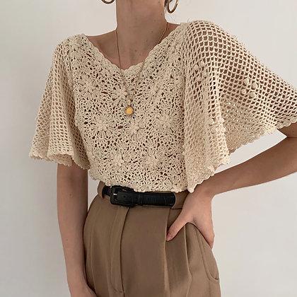 Rare Vintage Cream Crochet Knit Batwing Top