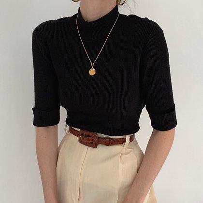 Vintage Noir Ribbed Knit Mock Neck
