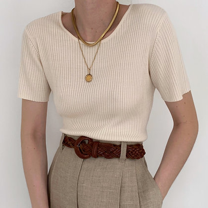 Essential Vintage Creme Silk Ribbed Knit Shirt