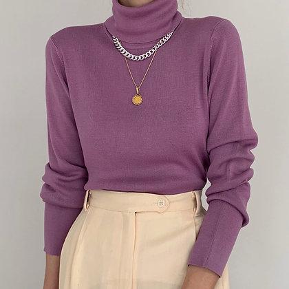 Vintage Lavender Silk Knit Turtleneck