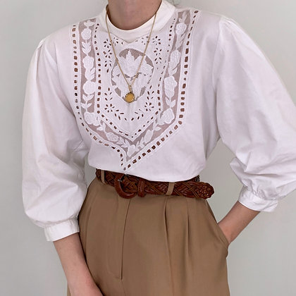 Vintage White Edwardian Style Blouse