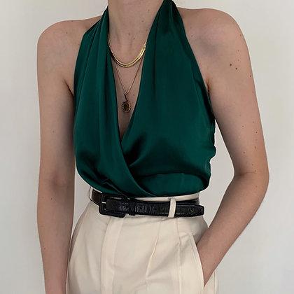 Vintage Emerald Silk Faux Wrap Halter Top