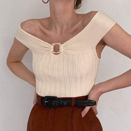 Vintage Cream Ribbed Off the Shoulder Top
