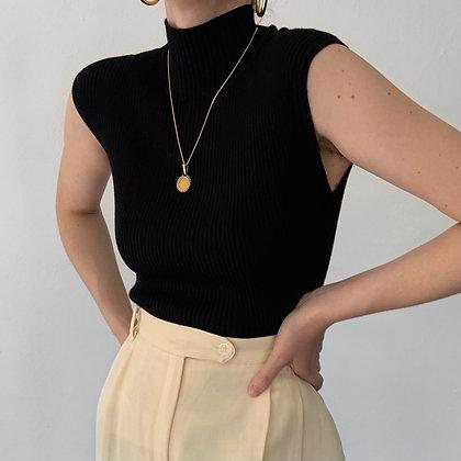 Vintage Noir Ribbed Knit High Neck Top
