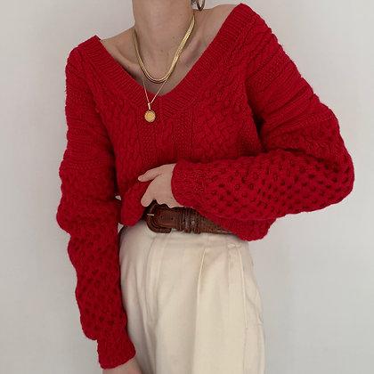 Vintage Cherry Chunky Knit V-Neck Sweater