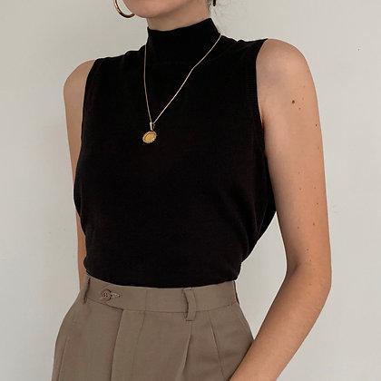 Vintage Black Sleeveless Mock Neck Top