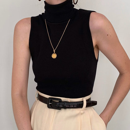 Vintage Anne Klein Onyx Sleeveless Turtleneck