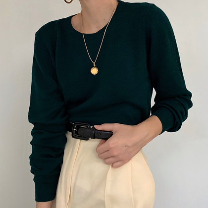Vintage Evergreen Wool Knit Pullover