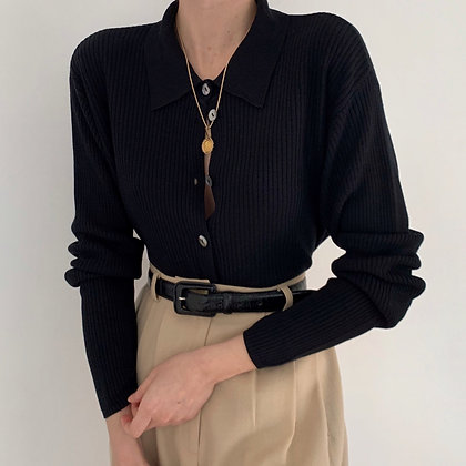 Vintage Onyx Silk Ribbed Buttoned Knit