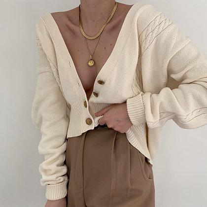 Favorite Vintage Ivory Cable Knit Cardigan
