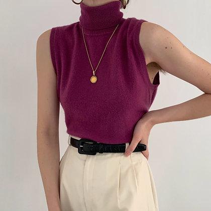 Vintage Berry Cashmere Sleeveless Turtleneck