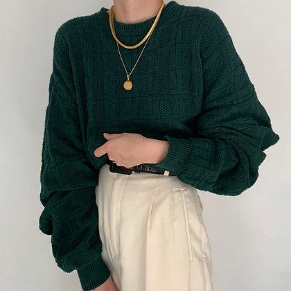 Vintage Pine Textured Knit Sweater