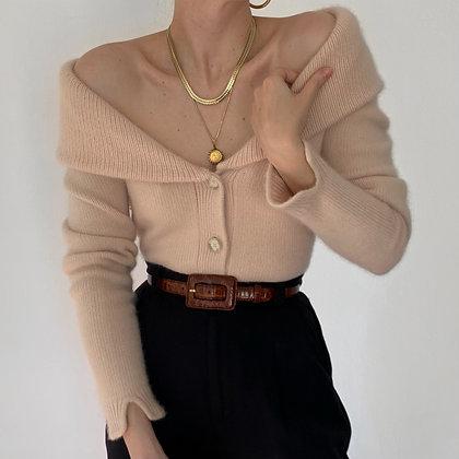 Vintage Blush Angora Shawl Cardigan Sweater
