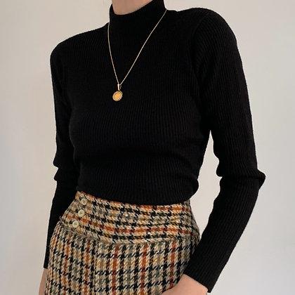 Vintage Black Ribbed Knit Mock Neck Top