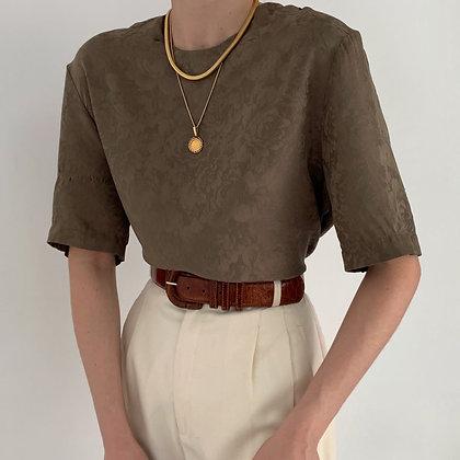 Vintage Olive Floral Boxy Silk Shirt