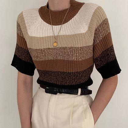 Vintage Neutral Stripe Ribbed Knit Top