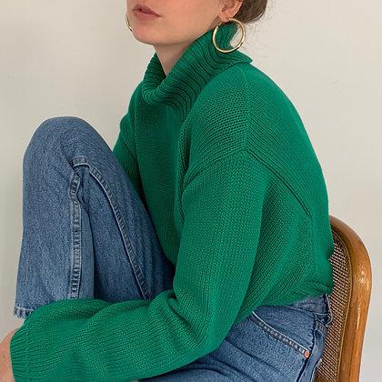 Vintage Evergreen Knit Turtleneck Sweater