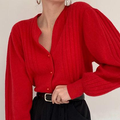 Vintage Poppy Red Angora Blend Cardigan