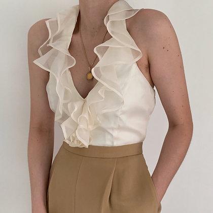 Vintage Creme Silk Ruffled Halter Blouse