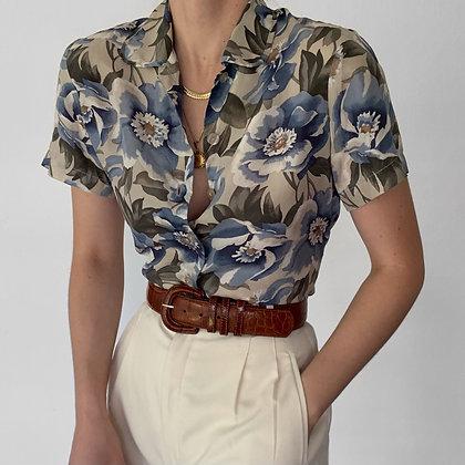 Vintage Cerulean Floral Silk Button Up Blouse