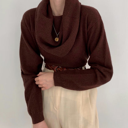Vintage Chocolate Angora Cowl Neck Knit