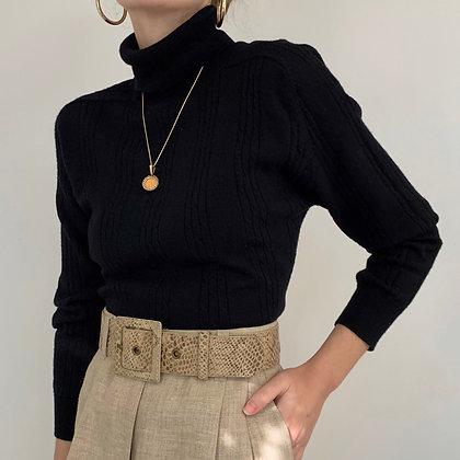 Vintage Black Wool Cable Knit Turtleneck