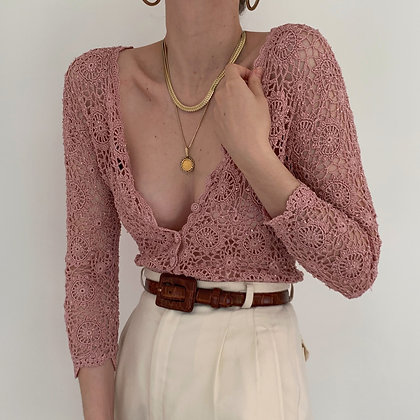 Vintage Rose Beaded Crochet Knit Top