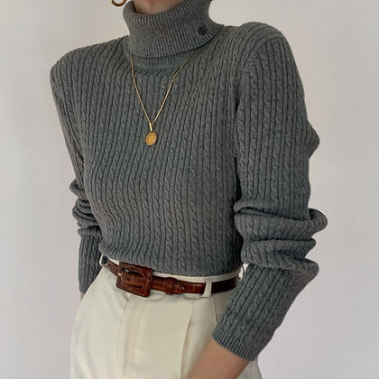 Vintage Ralph Lauren Stone Knit Turtleneck