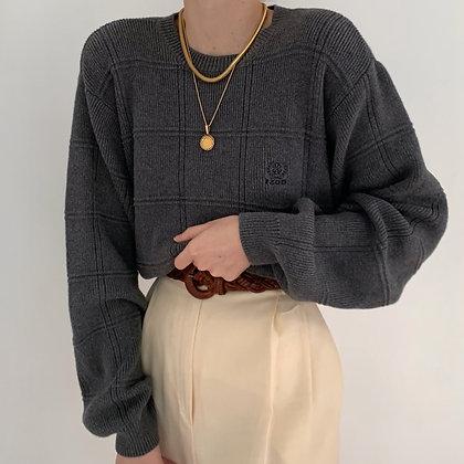Vintage Izod Smoke Grid Knit Sweater