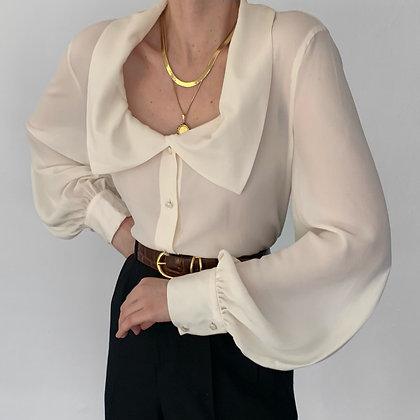 Vintage Escada Ivory Silk Collared Blouse