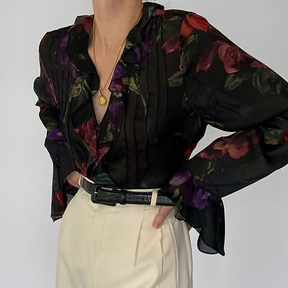 Vintage Ralph Lauren Noir Floral Silk Ruffled Blouse