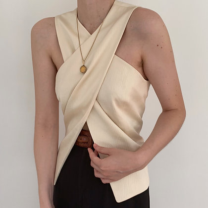 Favorite Vintage Ivory Silk Criss Cross Top