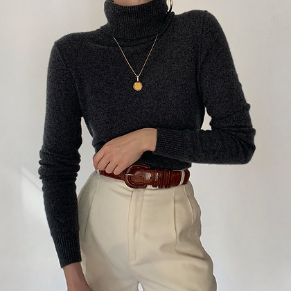 Vintage Charcoal Cashmere Knit Turtleneck