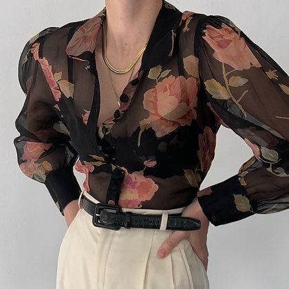 Favorite Vintage Noir Floral Silk Blouse