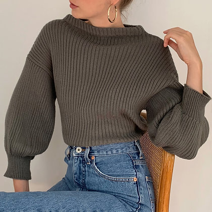 Vintage Stone Balloon Sleeve Knit Sweater