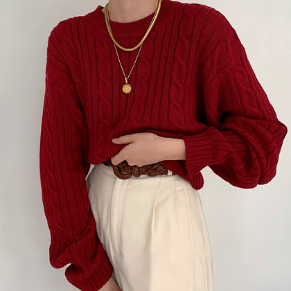 Vintage Cherry Cable Knit Sweater